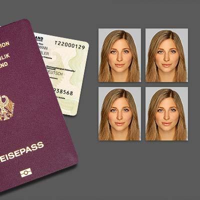 Biometrische Passbilder für Ausweis, Pass oder Visum